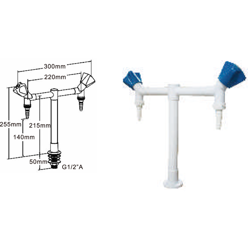 Double way water tap lab fitting supplier