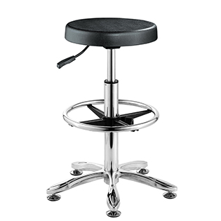 Gas bar lab stool with footring chrome base